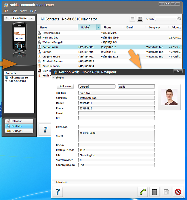 nokia communication center on pc suite showing contact entry details