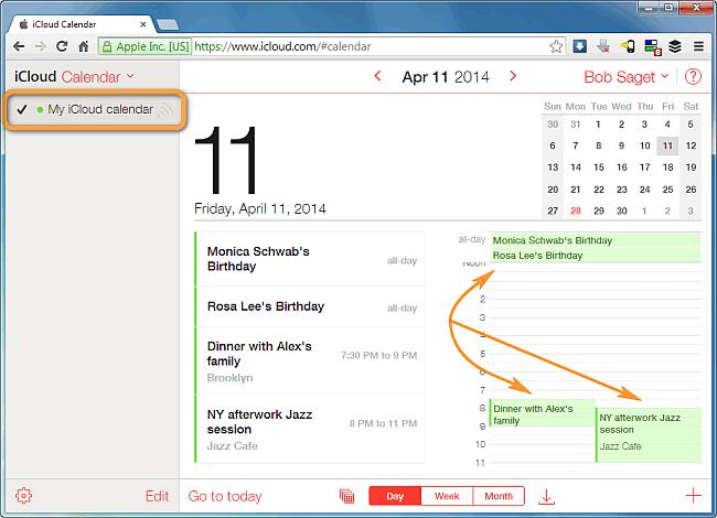 native icloud calendar displaying local iphone events