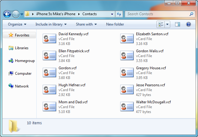 vcard contact files in pc folder