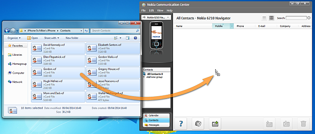 drag and drop vcard from pc to nokia communication center