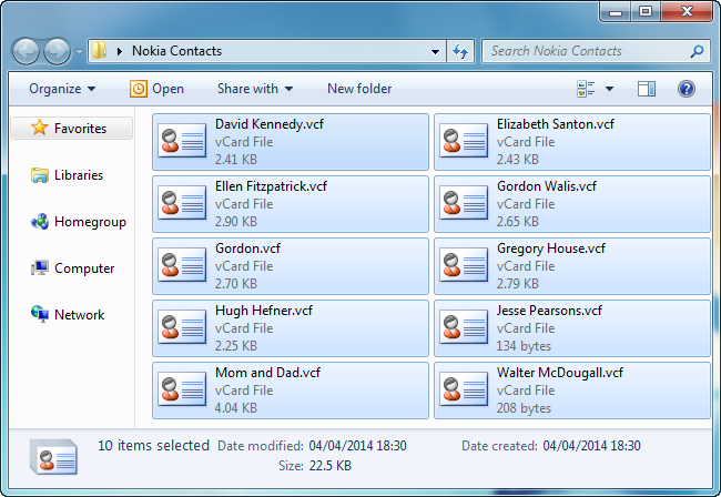 pc folder displaying vcard contact files