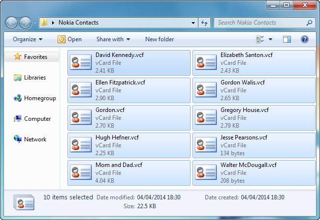 pc folder displaying vcard contact files