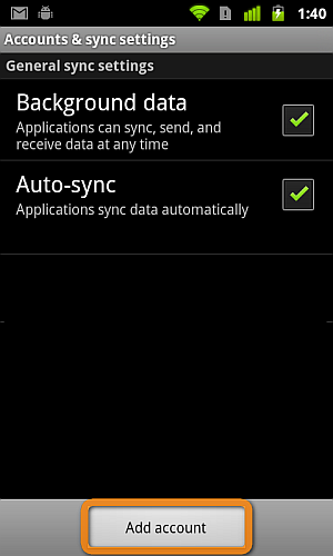 add account button under account & sync settings on android