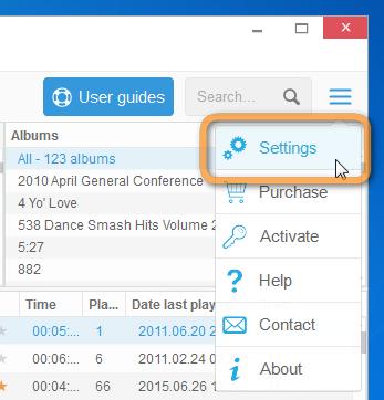 enter copytrans settings via the more button on top