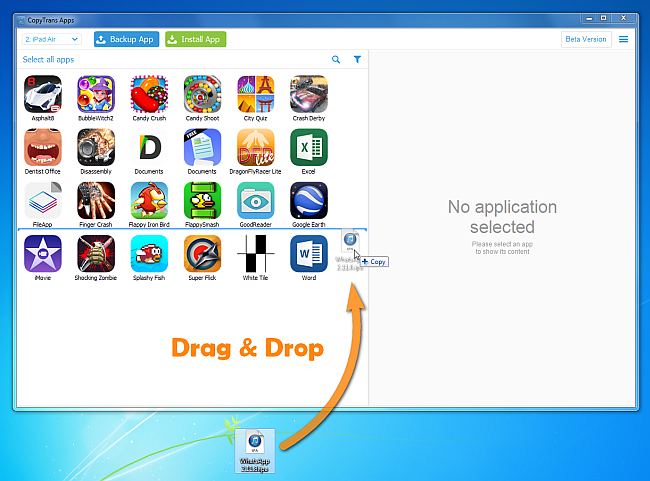 drag and drop whatsapp files from pc to ipad