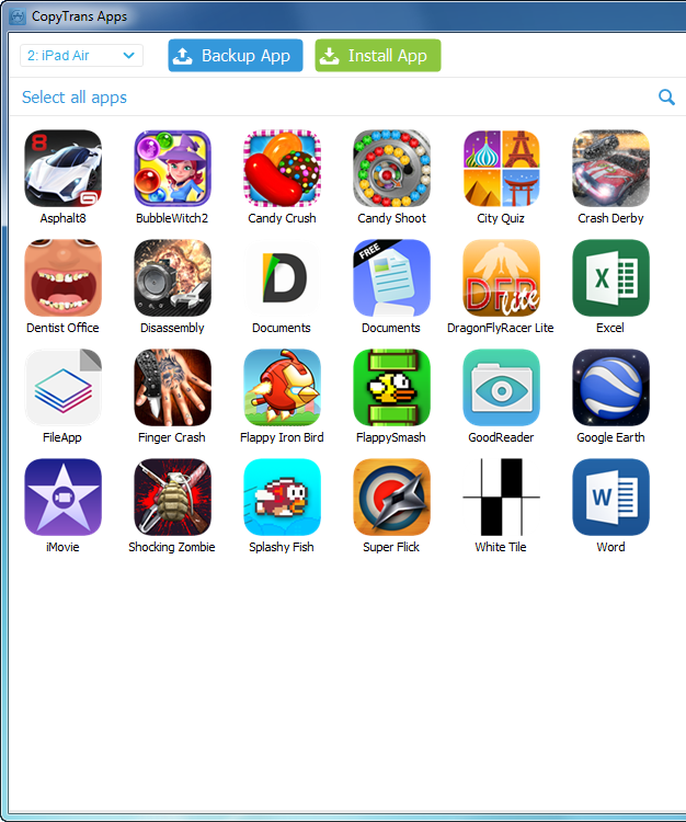 ipad air apps appear listed in main program window on computer