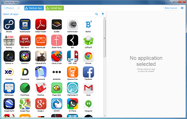 main copytrans apps window listing iphone apps