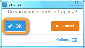backup apps prompt in copytrans apps