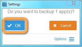backup apps prompt in copytrans apps