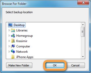 browse to pc folder where to backup whatsapp