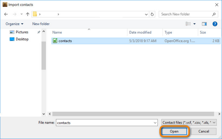 Open the folder with your .csv file