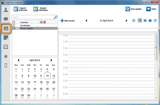 copytrans contacts main window in calendar view
