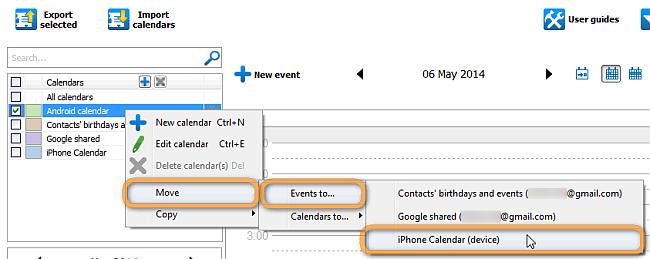 move or copy google calendar to local iphone calendar