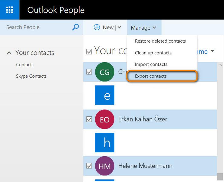 """Click """"Export contacts"""""""