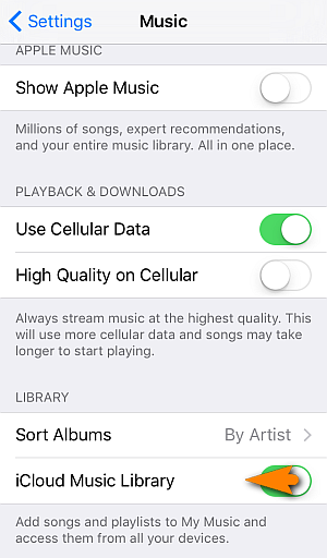 ios 9 disable icloud music
