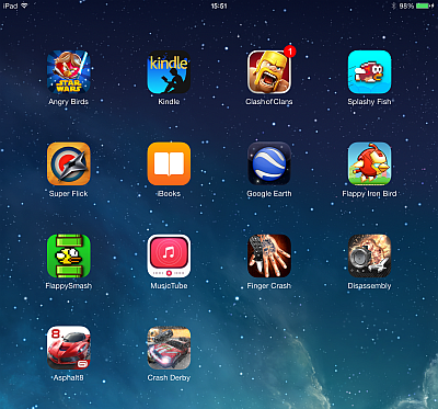 ipad home screen with newly restored apps