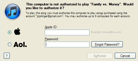 this computer is not authorized - itunes drm prompt message