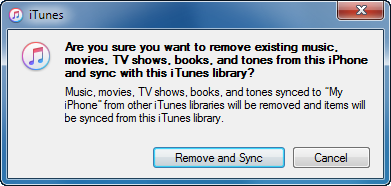 erase and sync prompt in itunes