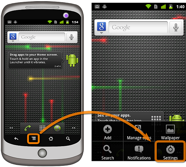 menu button on google nexus one phone