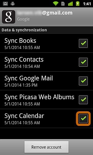 sync calendar check box under accounts and sync options on android