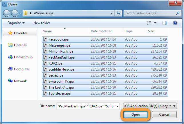 browse window to open ipa files containing ios apps