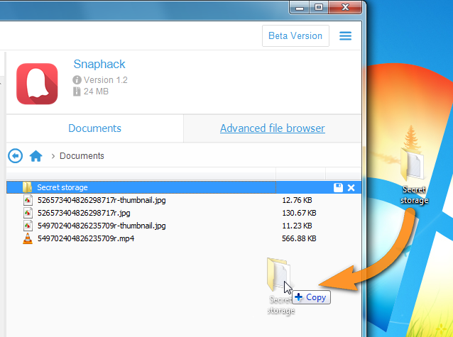 drag and drop folder from pc to copytrans apps main window