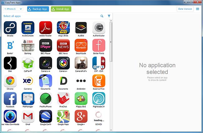 copytrans loading iphone apps
