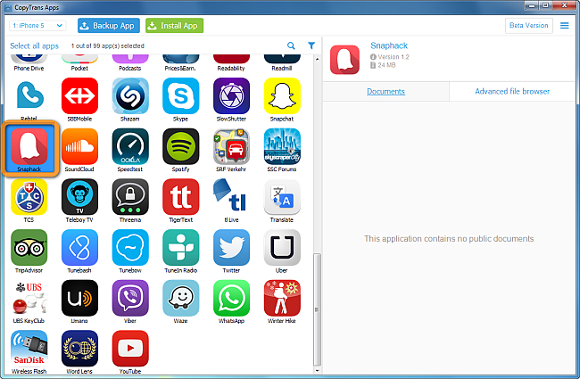 select iphone app in copytrans apps main window