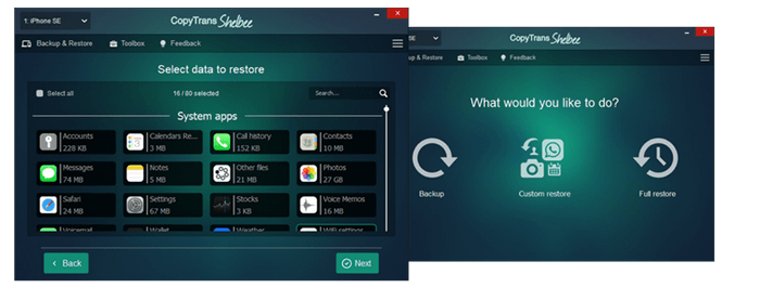 Try Custom restore in CopyTrans Shelbee to transfer just the data you need