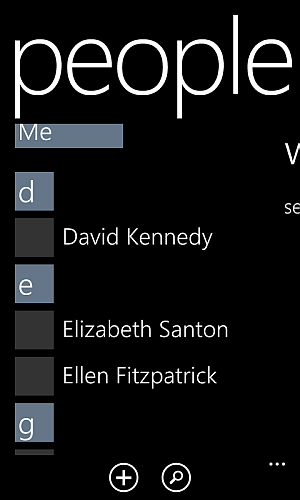 contact entries on windows phone people app
