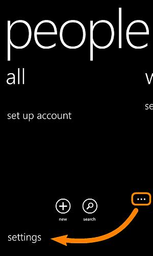 settings of people app on nokia lumia