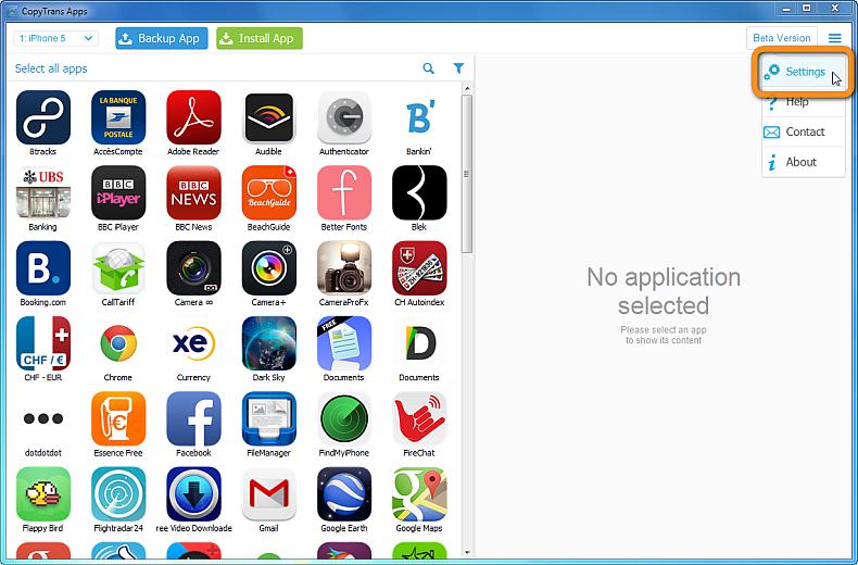 settings right-click menu in copytrans apps main window