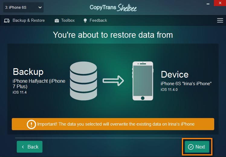 Confirmation screen in CopyTrans Shelbee
