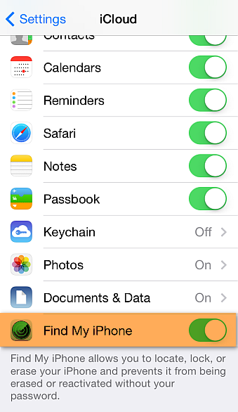 find my iphone option in iphone settings