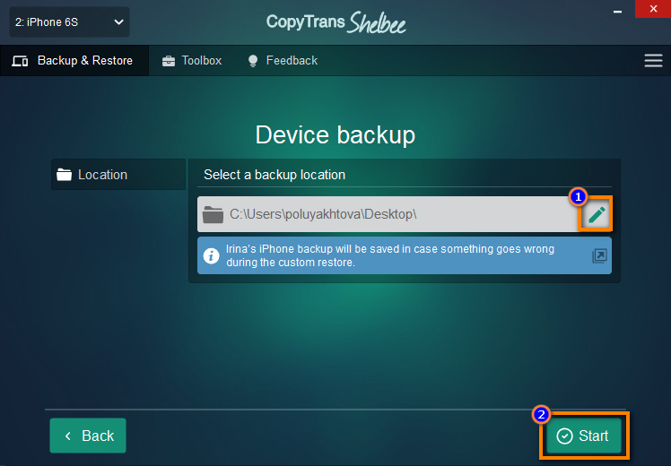 Save destination device backup in CopyTrans Shelbee