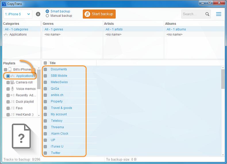 main program window listing ios apps