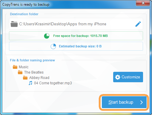 click start backup button