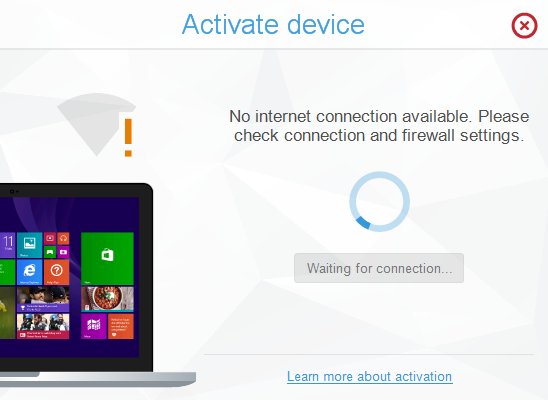 no internet connection message in copytrans shelbee activation wizard
