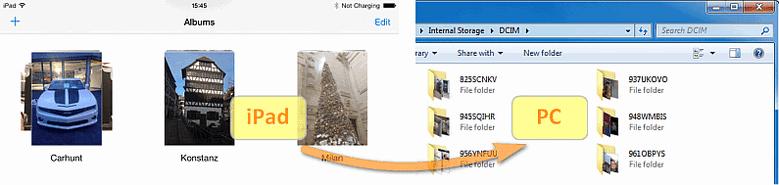 iPad internal storage DCIM photo folder