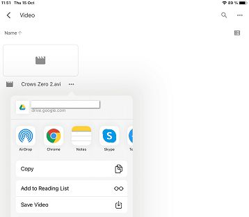 Save video in Google Drive