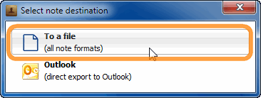 select note export format in copytrans contacts