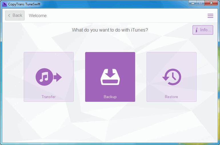backup button in copytrans tuneswift program window
