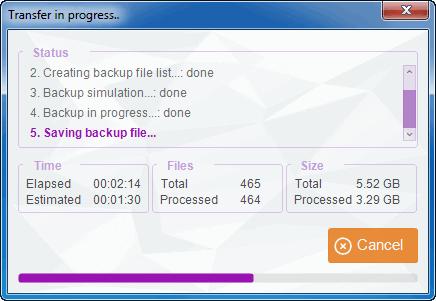 tuneswift window showing backup progress