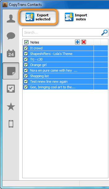export notes button in copytrans contacts