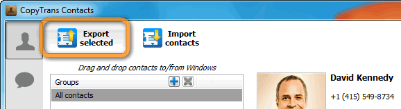 copytrans contacts export selected contacts button