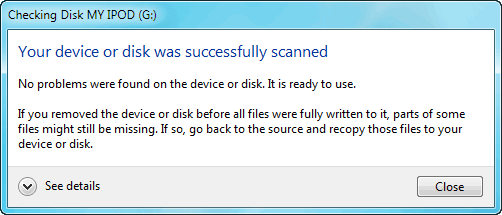 your device or disk was successfully scanned check disk message