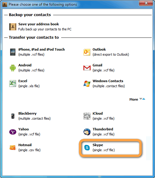 export contacts to skype vcf format