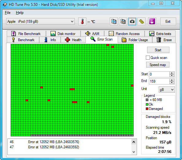 hd tune window with scan results