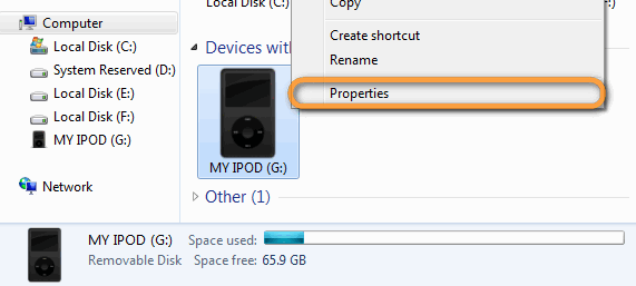 ipod drive properties on windows pc