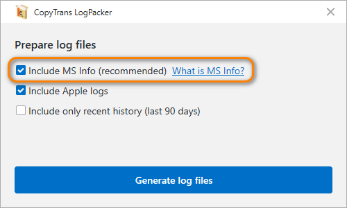 ms info included into log files